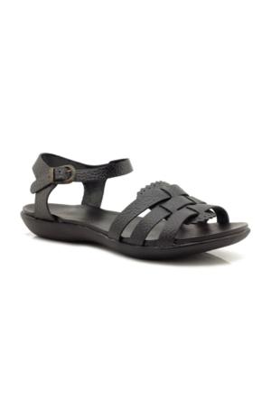 Veronica Hakiki Deri Siyah Kadın Sandalet