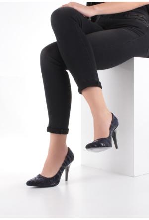 Erbilden Lacivert Süet Desenli Bayan Stiletto Ayakkabı