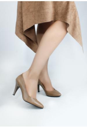 Erbilden Vizon Cilt Bayan Topuklu Ayakkabı