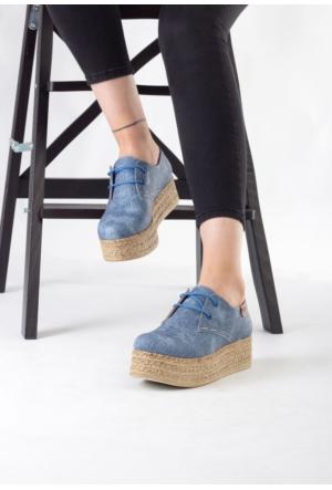 Erbilden Lizet Mavi Cilt Bağcıklı Yüksek Taban Bayan Ayakkabı