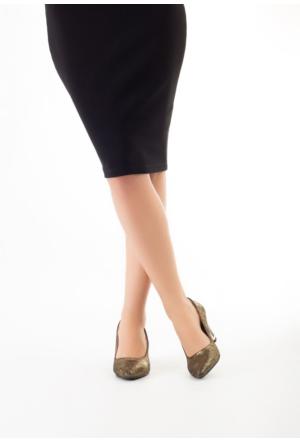Erbilden Mrt Gold Simli Bayan Kısa Topuk Ayakkabı