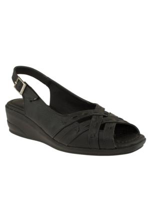 Muya 90468 Geçme Bantlı Ön Açik Siyah Bayan Sandalet