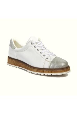 Desa Collection Kadın Deri Spor Ayakkabı Beyaz - Gri