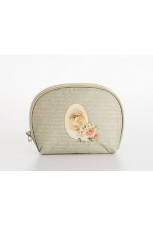 Madame Coco Baskılı Makyaj Çantası Oval Mini 22 x 17 x 6cm
