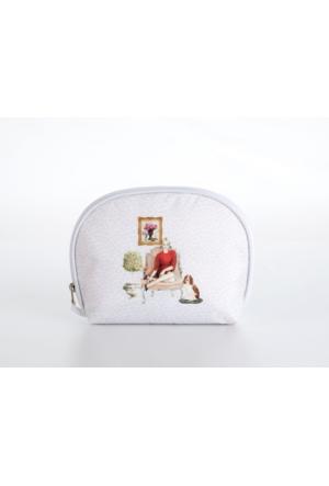 Madame Coco Baskılı Makyaj Çantası Oval Mini 22 x 17 x 6 cm - Std
