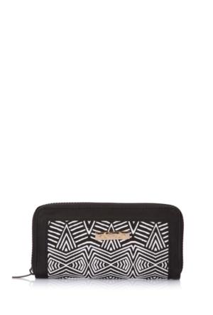 DeFacto Kadın Geometrik Desenli Cüzdan Siyah
