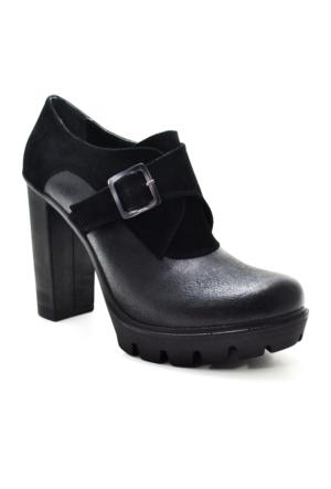 Baldano Platform Topuk Siyah Kadın Ayakkabı