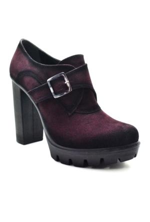 Baldano Platform Topuk Bordo Kadın Ayakkabı
