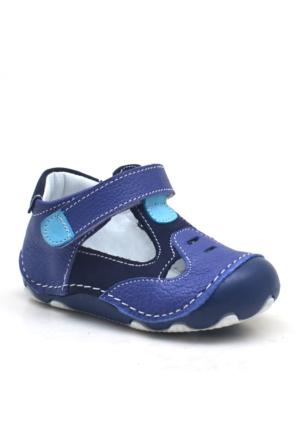 Hakiki Deri Lacivert Cırtlı Ortopedik İlk Adım Erkek Bebek Ayakkabı