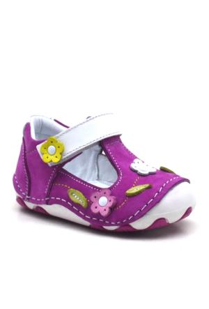 Hakiki Deri Pembe Cırtlı Ortopedik İlk Adım Kız Bebek Ayakkabı