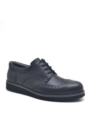 Raker ® Plus Hakiki Deri Siyah Erkek Çocuk Ayakkabısı