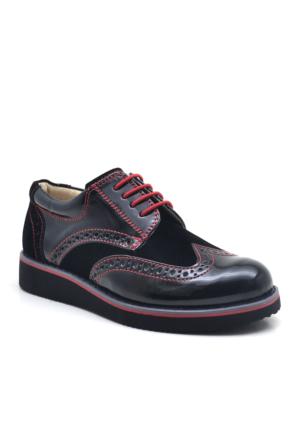 Raker® Siyah Rugan Bağcıklı Klasik Erkek Çocuk Okul Ayakkabısı