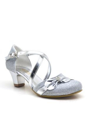 Sarıkaya Abiye Gümüş Taşlı Fiyonklu Topuklu Kız Çocuk Ayakkabı