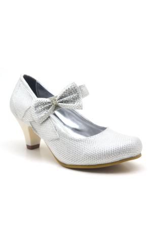 Sarıkaya Abiye Sedefli Taşlı Fiyonklu Topuklu Kız Çocuk Ayakkabı