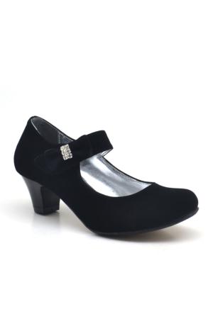 Sarıkaya Abiye Siyah Taşlı Fiyonklu Süet Topuklu Kız Çocuk Ayakkabı