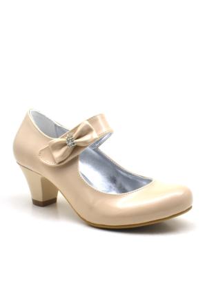 Sarıkaya Abiye Ten Rengi Taşlı Fiyonklu Rugan Topuklu Kız Çocuk Ayakkabı