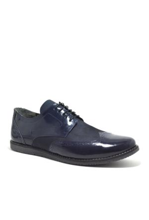 Tardelli® Hakiki Deri Büyük Numara Lacivert Rugan Erkek Ayakkabı