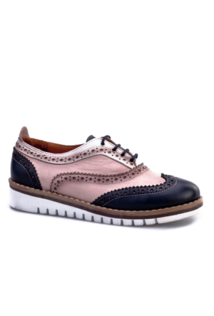 Cabani Bağcıklı Oxford Günlük Kadın Ayakkabı Pembe Deri