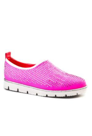 Cabani Light Taban Taş Süslemeli Günlük Kadın Ayakkabı Pembe Deri