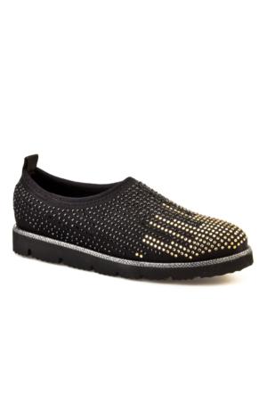 Cabani Light Taban Taş Süslemeli Günlük Kadın Ayakkabı Siyah Deri