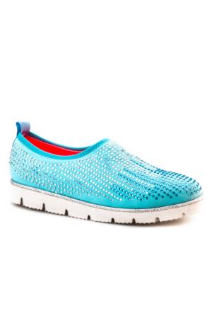 Cabani Light Taban Taş Süslemeli Günlük Kadın Ayakkabı Mavi