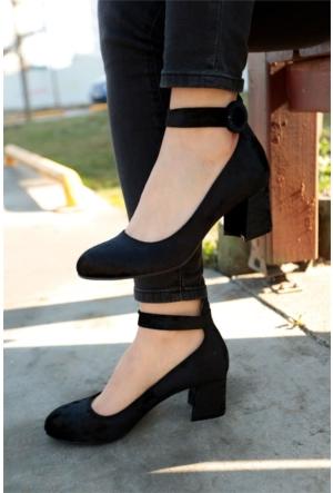 İnce Topuk Kadife Kısa Topuklu Ayakkabı 7YAZA0043888