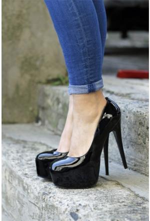 İnce Topuk Burnu Kapalı Platform Topuklu Ayakkabı 7YAZA0089433