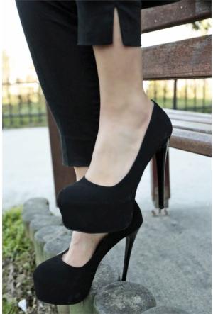 İnce Topuk Burnu Kapalı Platform Topuklu Ayakkabı 7YAZA0089416