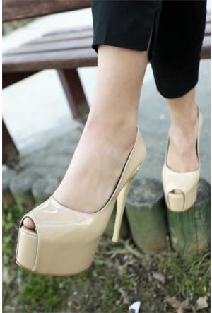 İnce Topuk Burnu Açık Platform Topuklu Ayakkabı 7YAZA0090512
