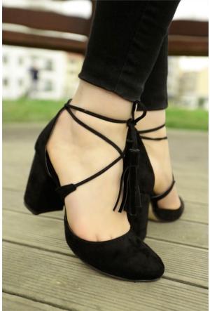 İnce Topuk Bilekten Çapraz Bağlı Topuklu Ayakkabı 7YAZA0105416
