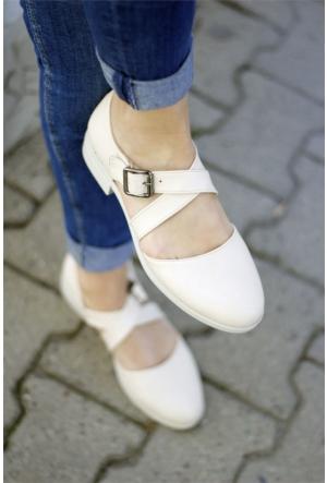 İnce Topuk Çapraz Bantlı Oxford Ayakkabı 7YAZA0108276
