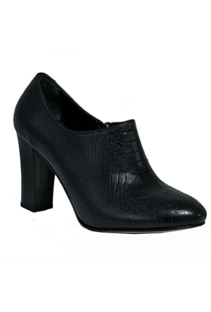 Charmia 246 Deri Topuklu Kadın Ayakkabı Siyah Krok
