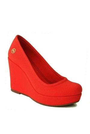 Mammamia D15Ya-3290 Dolgu Topuk Kadın Ayakkabı Kırmızı