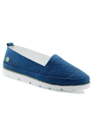 Mammamia D16Ya-3680 Ortopedik Deri Kadın Ayakkabı Mavi