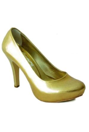 Ayakkabım Çantam 7149 Gizli Platformlu Kadın Ayakkabı Altın