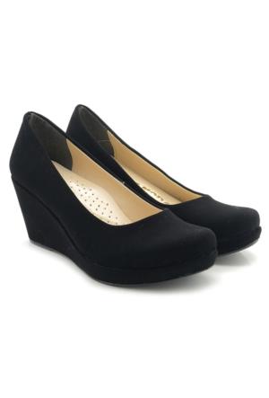 Fantasy Siyah Nubuk Sade Model Dolgu Topuk Ayakkabı