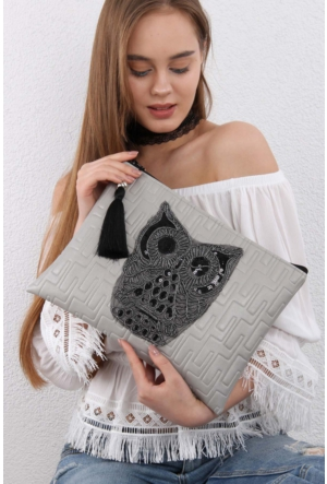 Chiccy Gri Vegan Dev Owl Aplikeli Clutch