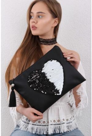 Chiccy Siyah Beyaz Pullu Yön Değiştire Kalp Aplikeli Clutch
