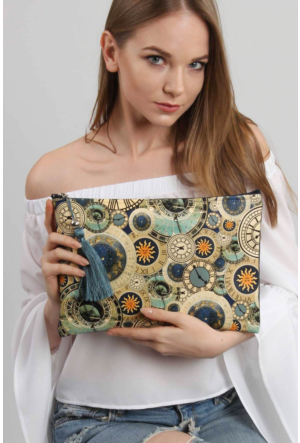 Chiccy Time Desenli Vegan Clutch