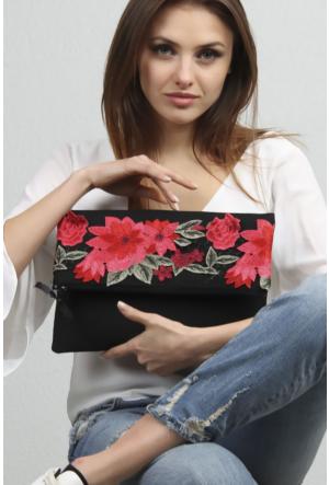 Chiccy Siyah Dev Kırmızı Güller Dantelli Romantik Kapaklı Clutch