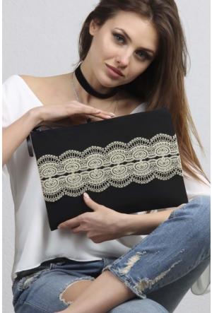 Chiccy Siyah Vintage Mat Altın Dantelli Clutch