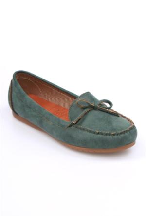 Zerrin Shoe Yeşil Nubuk Tek İğne Kadın Babet-609991
