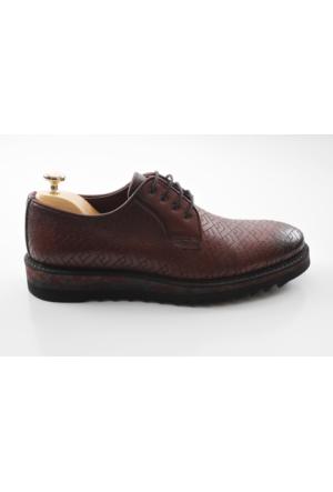 Veyisusta Bordo Nakışlı Açma Deri Erkek Ayakkabı