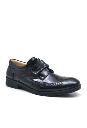 Raker Siyah Cırtlı Rugan Klasik Erkek Çocuk Ayakkabısı