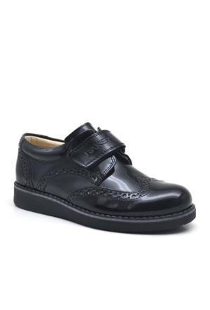 Raker Siyah Rugan Cırt Cırtlı Erkek Çocuk Okul Ayakkabısı