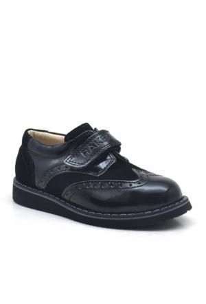 Raker Siyah Rugan Cırt Cırtlı Klasik Erkek Bebek Ayakkabısı