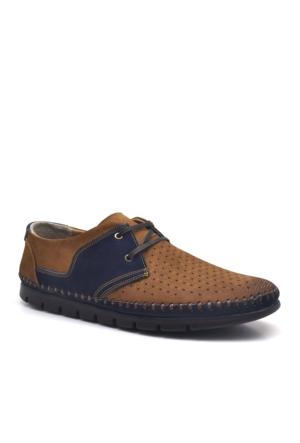 Tardelli Hakiki Deri Taba Lacivert Ortopedik Erkek Ayakkabısı