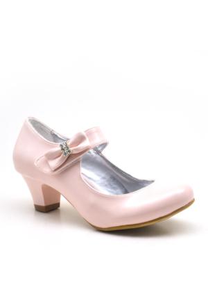 Sarıkaya Abiye Pudra Rengi Taşlı Fiyonklu Rugan Topuklu Kız Çocuk Ayakkabı