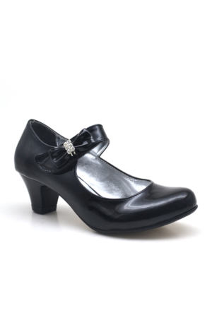 Sarıkaya Abiye Siyah Taşlı Fiyonklu Rugan Topuklu Kız Çocuk Ayakkabı