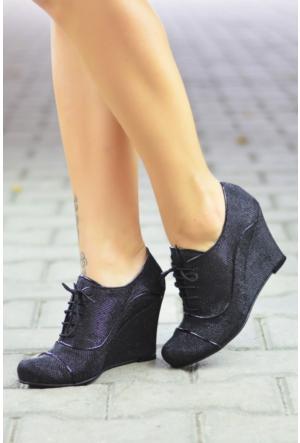 Peri Kızı Parıltı Dolgu Topuklu Ayakkabı Siyah